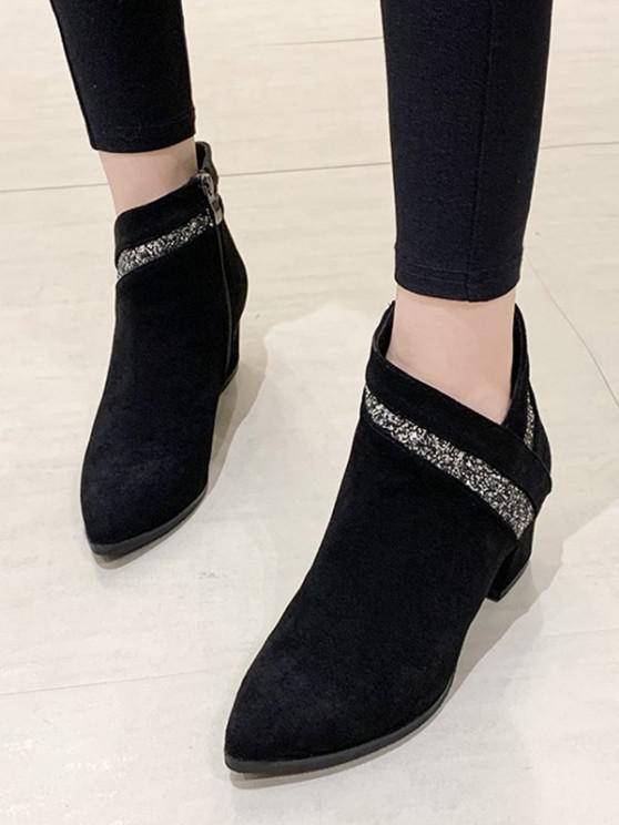 shops Pointed Toe Glitter Embellished Boots - BLACK EU 38
