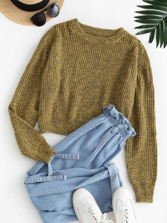 Crew Neck Heathered Pullover Sweater - اصفر غامق M