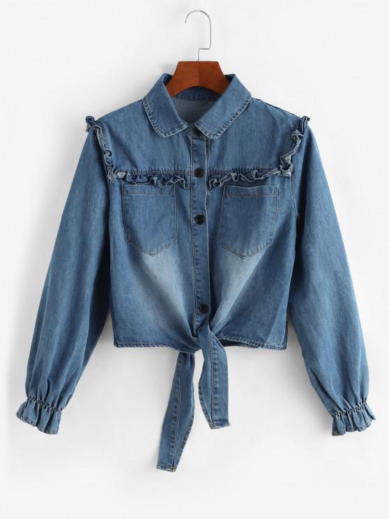 women Tie Front Frilled Button Up Denim Jacket - LIGHT BLUE S