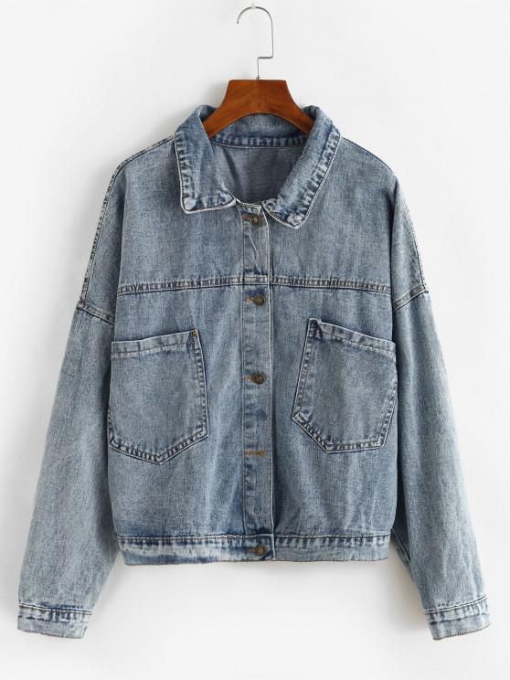women Button Up Oversized Pockets Denim Jacket - LIGHT BLUE M