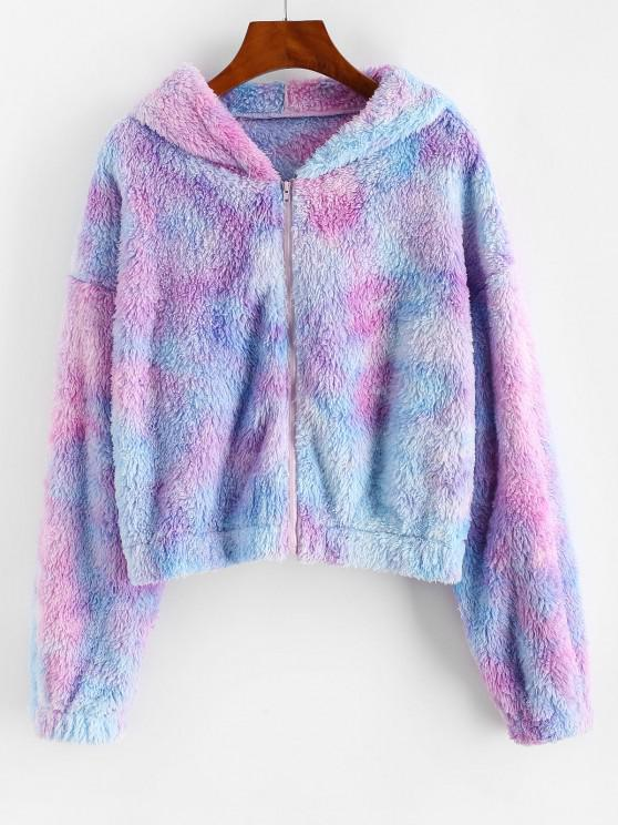 fancy ZAFUL Full Zip Tie Dye Fluffy Coat - MAUVE S