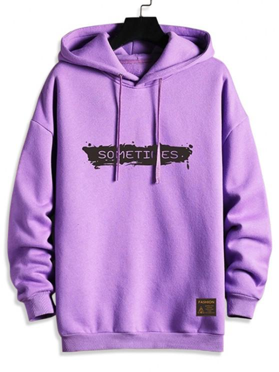 Drawstring Fleece Lined SOMETIMES Graphic Hoodie - أرجواني XL