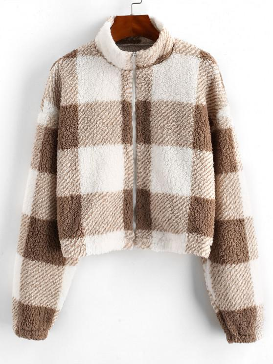 unique ZAFUL Full Zip Plaid Teddy Coat - BROWN BEAR M