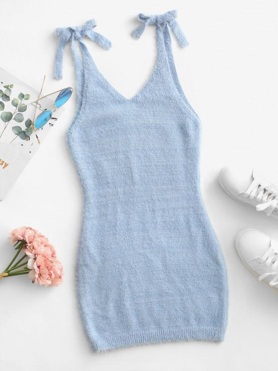 Tie Shoulder Sleeveless Plunging Bodycon Sweater Dress - أزرق فاتح L