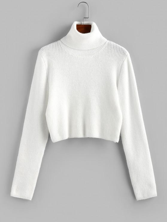 ZAFUL Turtleneck Plain Crop Sweater - أبيض S