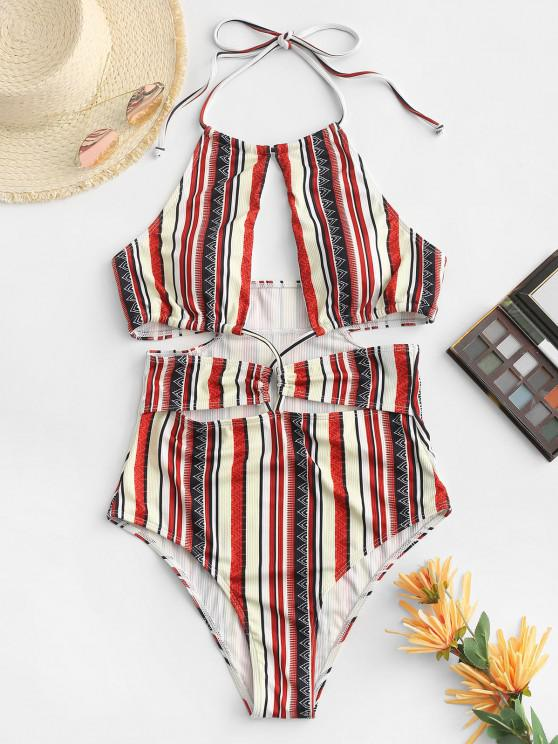 new ZAFUL Ribbed Halter Cutout Backless One-piece Swimsuit - DEEP RED M