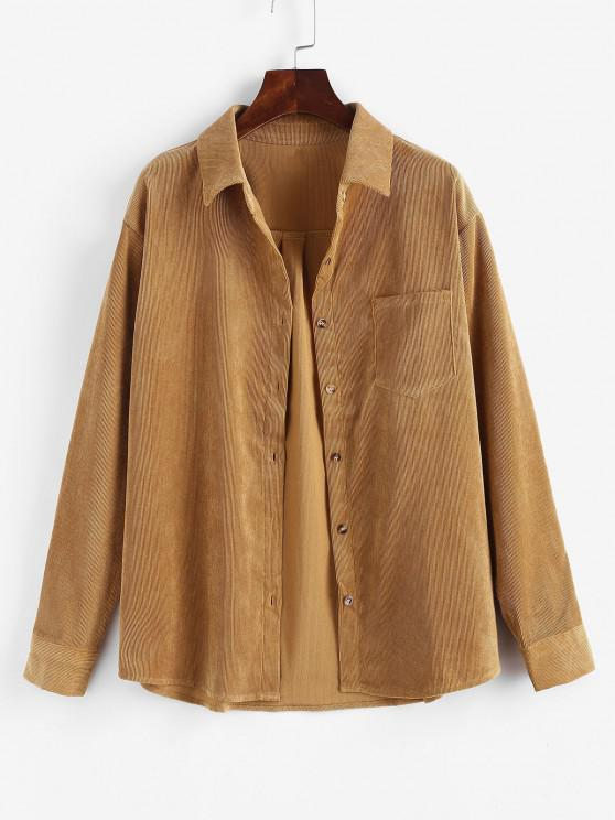 online Corduroy Pocket Shirt Jacket - YELLOW M