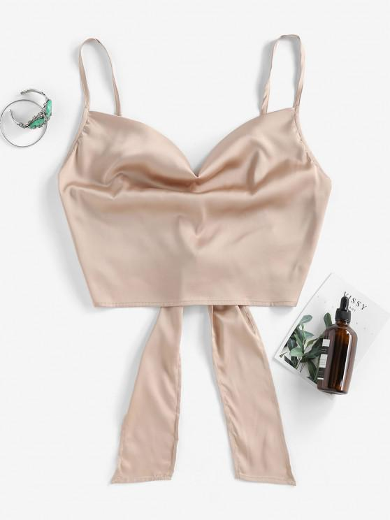 ZAFUL Cropped Tie Back Satin Cowl Front Cami Top - كاكي M