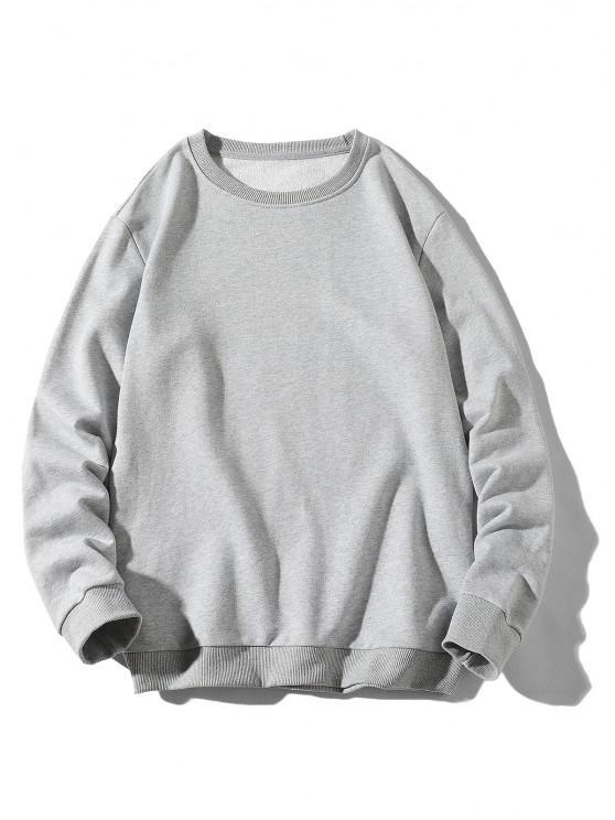 sale Rib-knit Trim Basic Sweatshirt - LIGHT GRAY XS