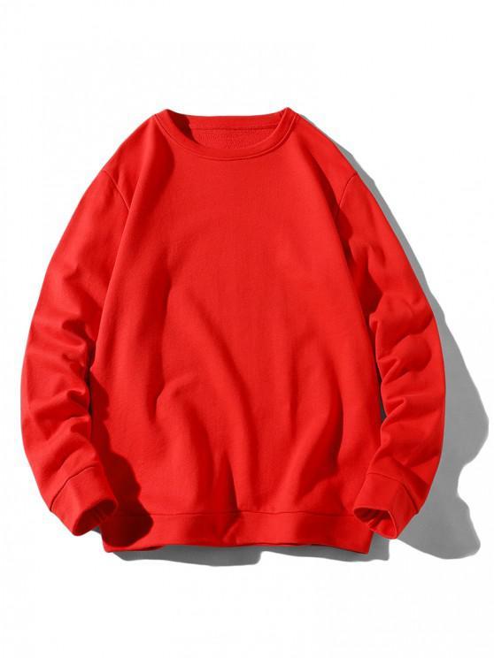 Sweat-shirt de Base à Ourlet Côtelé - Rouge S