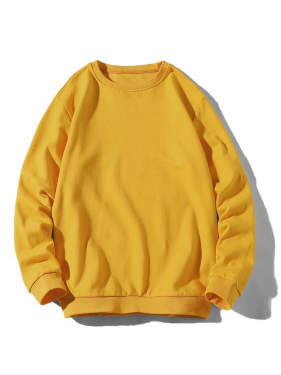 Rib-knit Trim Basic Sweatshirt - الأصفر XS
