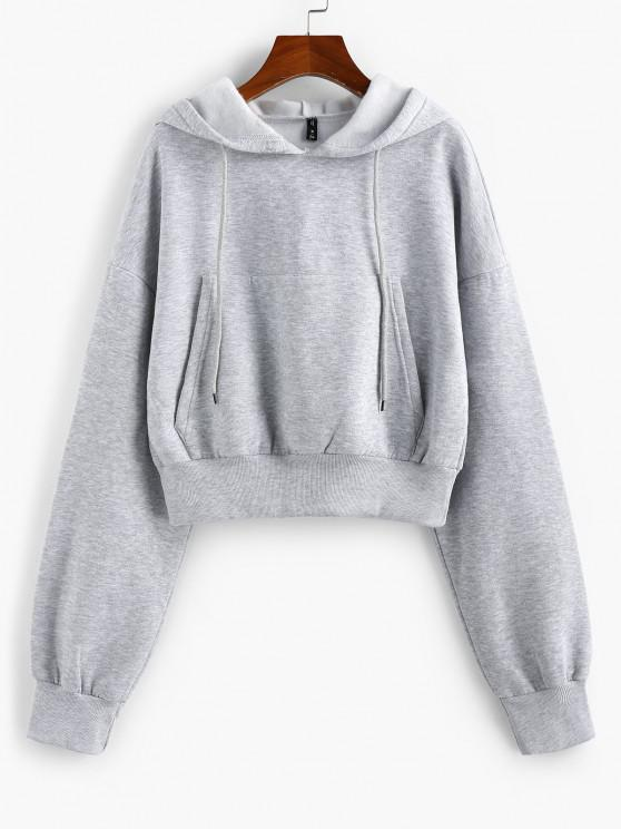 ZAFUL Drop Shoulder Flocking Pocket Drawstring Hoodie - رمادي فاتح S