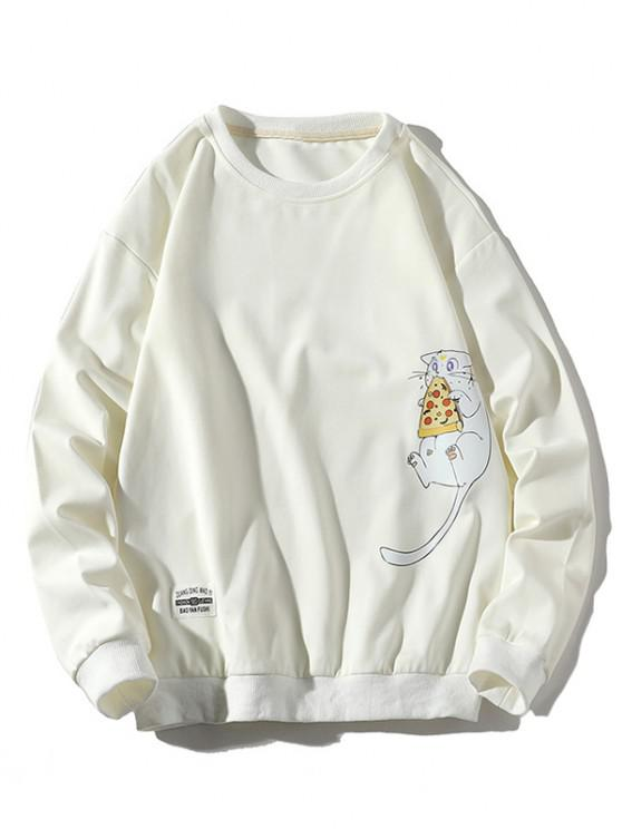 Mouse Eating Pizza Print Crew Neck Sweatshirt - أبيض XS