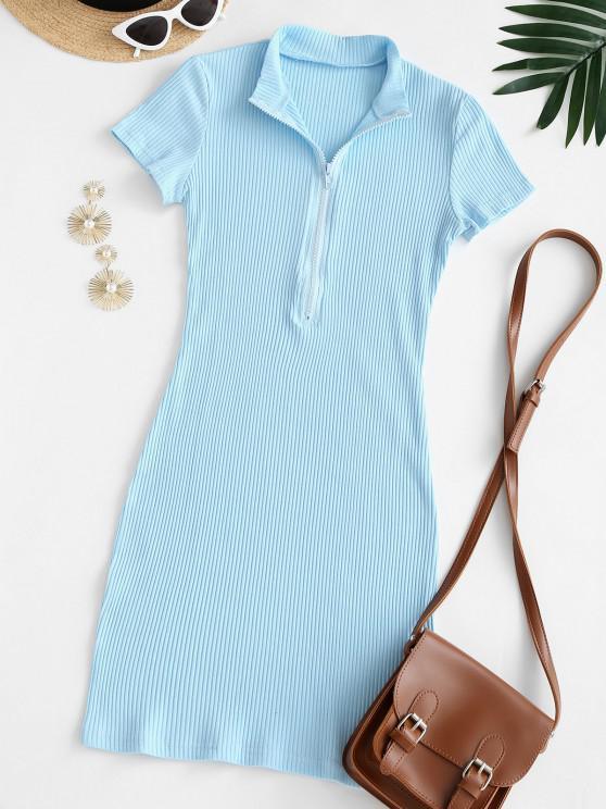 Half Zip Ribbed Bodycon Dress - أزرق فاتح L