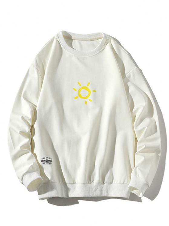 Sonnen Druck Rundhalsausschnitt Lässiges Sweatshirt - Weiß S