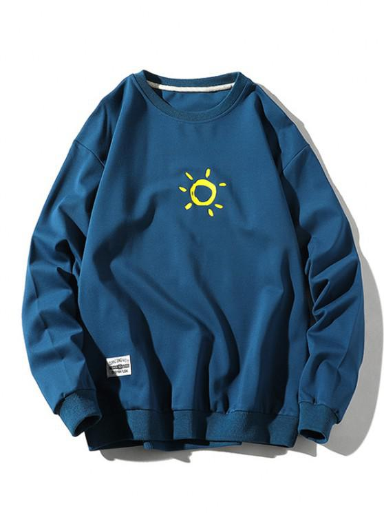 Sun Print Crew Neck Casual Sweatshirt - أزرق L