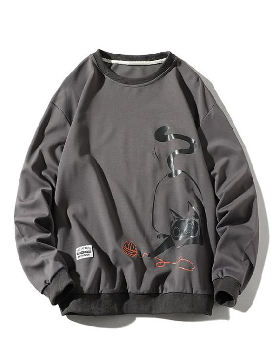 shop Playing Cat Print Crew Neck Casual Sweatshirt - GRAY S