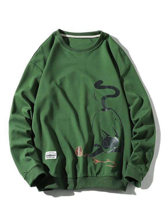 sale Playing Cat Print Crew Neck Casual Sweatshirt - GREEN M