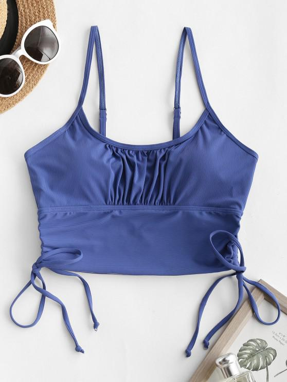 online ZAFUL Ribbed Ruched Bust Cinched Bikini Top - BLUE S