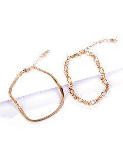 2Pcs 18K Gold Plated Bracelet Set - Golden