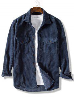 Pure Color Front Pockets Corduroy Casual Shirt - Dark Slate Blue 3xl