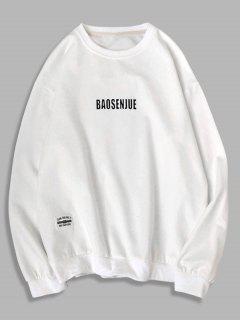 Sweat-shirt Applique Lettre Imprimée à Col Rond - Blanc Xs
