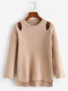 Crew Neck Cut Out High Low Slit Sweater - Light Coffee