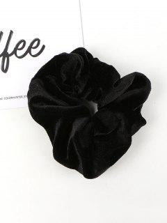 Solid Velour Fabric Scrunchie - Black