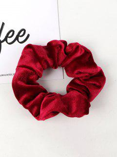 Solid Velour Fabric Scrunchie - Deep Red