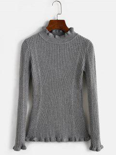 Ribbed High Neck Slim Lettuce Sweater - Light Gray