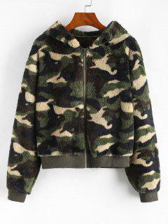 Camouflage Flauschige Jacke Mit Kapuze - Dunkelgrün M