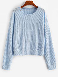Drop Shoulder Plain Knitted Sweatshirt - Light Blue S