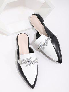 Rhinestone Colorblock Slides Flat Shoes - Multi-a Eu 38