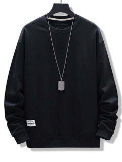 Letter Patched Ribbed Trim Sweatshirt - Black M