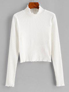 ZAFUL Camiseta Con Cuello Alto Acanalado - Blanco L