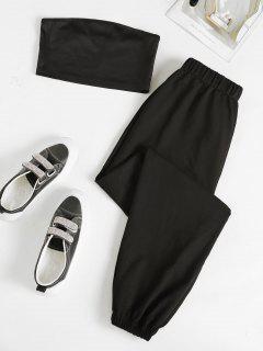 Strapless Crop Top And Jogger Sweatpants Set - Black S