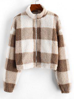 ZAFUL Full Zip Plaid Teddy Coat - Brown Bear Xl