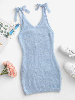 Tie Shoulder Sleeveless Plunging Bodycon Sweater Dress - Light Blue M