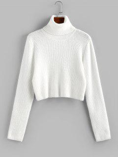 ZAFUL Turtleneck Plain Crop Sweater - White S
