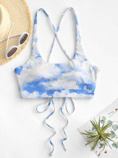 ZAFUL Ribbed Cloud Print Lace Up Bikini Top - Light Blue S