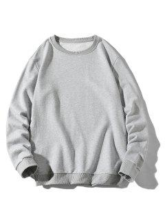 Rib-knit Trim Basic Sweatshirt - Light Gray Xs