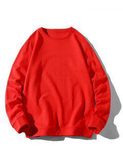 Rib-knit Trim Basic Sweatshirt - Red Xs