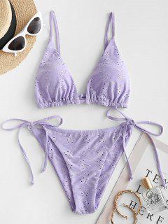 ZAFUL Tie Side Eyelet String Bikini Swimwear - Light Purple M