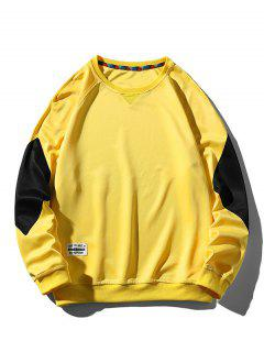 Colorblock Panel Raglan Sleeve Sweatshirt - Yellow M