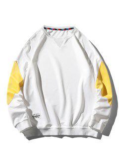 Colorblock Panel Raglan Sleeve Sweatshirt - White L