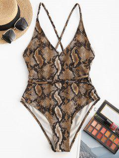 ZAFUL Snakeskin Crisscross One-piece Swimsuit - Coffee L