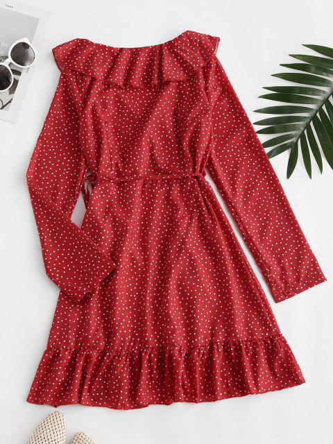 ZAFUL Vestido de Lunares con Volantes - Rojo S Mobile
