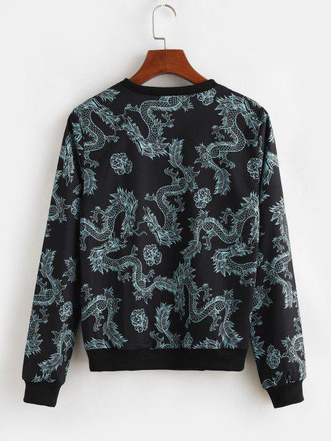 Dragon Print Chinoiserie Sweatshirt - أسود XL Mobile