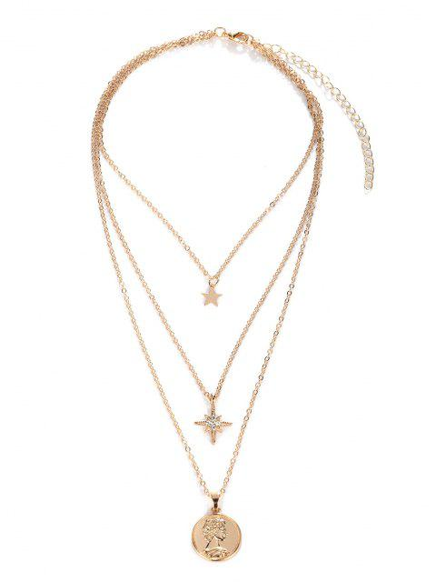 latest 18K Gold Plated Star Portrait Layered Necklace - GOLDEN  Mobile