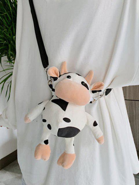 fashion Cute Plush Cow Mini Crossbody Bag - WHITE  Mobile